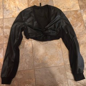 Faux leather front tie crop top long sleeve